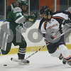 Salem: Plymouth State freshman Chad Wilhelm, right, can only watch as Salem State freshman Nick Lampson (12) cuts past Plymouth State freshman Richie Zobak, left, during the first period of their team's game at Rockett Arena in Salem on Thursday. Photo by Matthew Viglianti/Staff Photographer Thursday, November 19, 2009.