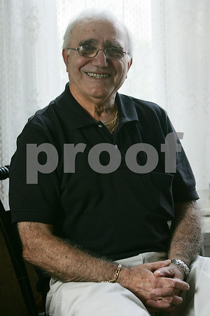 Salem: John Perroni of Salem will soon be inducted into the Salem State College Hall of Fame for his athletic accomplishments on the basketball and baseball teams in the 1950s. Perroni left school to fulfill two years of military obligations before returning to finish his education. Photo by Matthew Viglianti/Staff Photographer, Tuesday September 29, 2008.