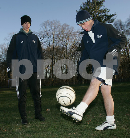Hamilton: Hamilton-Wenham soccer players Jon Britton, left, and Shawn Tucker, juggle a soccer ball at practice on Thursday. The pair are anxious for Saturday's state title game. Photo by Matthew Viglianti/Staff Photographer November 20, 2008.