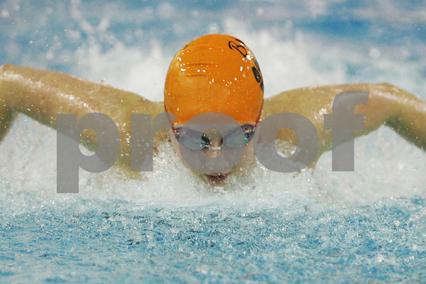 Marblehead: Carolyn Hall from Beverly swims the butterfly leg of the 200 yard medley relay during the Panthers' away meet against Marblehead on Monday. Photo by Matthew Viglianti/Staff Photographer Monday, February 2, 2009.