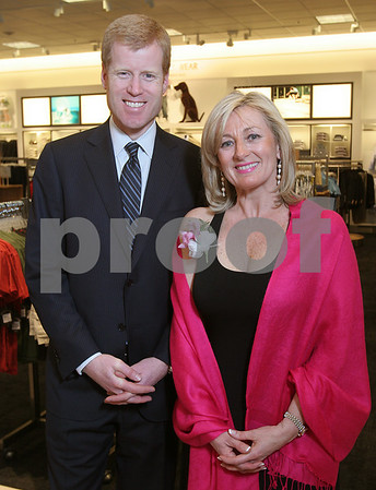 Peabody: Erik Nordstrom, executive vice president of full-line stores and a fourth generation member of the Nordstrom family, and Shelly Shuka, co-chair of Friends of Beverly Hospital, pose at the Nordstrom North Shore Mall opening gala on Wednesday night. Photo by Matthew Viglianti/Staff Photographer Wednesday, April 15, 2009.