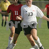 Beverly: Salem sophomore Desiree DeLeon challenges Beverly senior captain Meghan Chatellier for the ball during the first half of their teams' game in Beverly on Wednesday. Salem won the game 5-2. Photo by Matt Viglianti/Salem News Wednesday, September 17, 2008