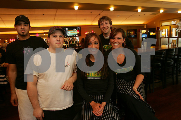 Beverly: Staff at the Hale Street Tavern & Oyster Bar in Beverly Farms. From left to right, cook Ronald Demoraes, chef Michael O'Brien, Blake Chasse, Scott Hall, and Kelsey Grenert. Photo by Matthew Viglianti/Staff Photographer Sunday, May 24, 2009.