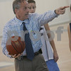 Swampscott: Swampscott assitant coach, John Beaulieu instructs the girls basketball team during practice on Thursday afternoon. The team is preparing for the state championship game in Worcester on Saturday. Photo by Matthew Viglianti/Staff Photographer Thursday, March 12, 2009.