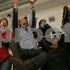 Byfield: Masconomet parents cheer as the girls hockey team scores the go-ahead goal in the third period of their game against Beverly in the first round of the state tournament in Byfield on Monday. From left are Dolly McIlvaine, Karen Hartel-Koenig, Maria Doyle, and Karin Turner. Photo by Matthew Viglianti/Staff Photographer Monday, February 23, 2009.
