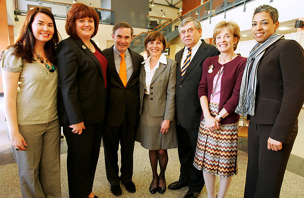 Salem: From left to right, Julie Danahy, Dean Brewer Doran, Roger Berkowitz, Patricia Maguire Meservey, President of Salem State College, Jacob Segal, Cynthia McGurren, and Monica Cost, pose in the foyer of the Bertolon School of Business building at Salem State College on Thursday afternoon. Berkowitz, the President and CEO of Legal Seafoods, spoke as part of the Agganis Forum hosted by the business school on Thursday. Photo by Matthew Viglianti/Staff Photographer Thursday, April 1, 2010.