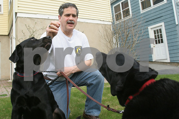 Salem: Animal Control Officer Don Famico plays with Tory, his 11-year-old female black lab, right, and Cooper, his daughter's 2-year-old male black lab, in the backyard of his home in Salem on Tuesday afternoon. Photo by Matthew Viglianti/Staff Photographer Tuesday, April 28, 2009.