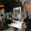 Salem: Christian Haselgrove from Salem helps a Salem tourist find their way at the information kiosk at Washington and Essex Streets on a busy Sunday afternoon. Photo by Matt Viglianti/Salem News Sunday, October 19, 2008