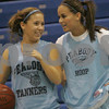Peabody: Peabody senior Alyssa Manoogian, left, talks with junior Kerrie O'Shea on the sidelines at try-outs for the basketball team on Wednesday afternoon. Photo by Matt Viglianti/Salem News Wednesday, December 03, 2008