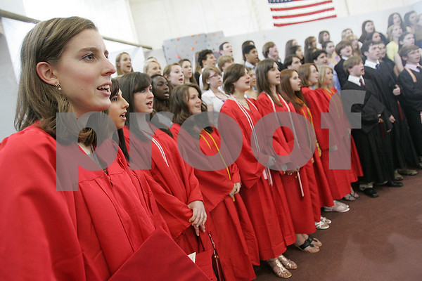 Marblehead: The Marblehead High School Chorus sings the Star Spangled Banner at the start of graduation ceremonies on Sunday afternoon. Photo by Matthew Viglianti/Staff Photographer Sunday, June 7, 2009.