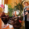 "Salem: Kara Hernley, dressed as Anna Leonowens center left, hands an autograph to Karen Carbone of Peabody as Amanda Beveridge, dressed as Marilyn Monroe left, signs one for Lisa Carbone of Salem during a fundraising event for North Shore Elder Services called ""You Oughta be in Pictures,"" on Thursday night in Salem. Photo by Matthew Viglianti/Staff Photographer Thursday, April 29, 2010."