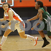 Salem: Salem State freshman guard Breanna Comeau, left, looks for options while under defensive pressure from junior guard Amanda LaPointe during the first half of the Vikings' home game against Babson on Monday. Photo by Matthew Viglianti/Staff Photographer Monday, December 8, 2008.