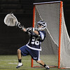 Cambridge: St. John's Prep senior goalie Nick Triano makes a save during the first half of the Division 1 state championship game between St. John's Prep and Duxbury at Harvard Stadium in Cambridge on Wednesday night. St. John's Prep won the game 12-11 on a sudden death goal by senior James Fahey. Photo by Matthew Viglianti/Staff Photographer Wednesday, June 16, 2010.