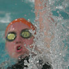 Beverly: Kaitlyn O'Connor from Beverly throws up a spray of water while swimming the backstroke leg of the 200-yard medley relay during the Panther's home meet against Marblehead on Thursday night. O'Connor and her teammates, Kyle Shropshire, Carolyn Hall, and Nate Holscher finished third in the race. Photo by matthew Viglianti/Staff Photographer Thursday, January 14, 2010.