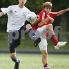 Hamilton: Hamilton-Wenham senior tri-captain Jon Britton, left, and Masconomet senior David Brennan compete for a ball in the air during their teams' matchup in Hamilton on Tuesday. Masconomet won the game 2-1. Photo by Matt Viglianti/Salem News Tuesday, September 16, 2008