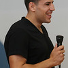 Boston Bruins forward Milan Lucic smiles as he answers questions from students at the Riverside Elementary School in Danvers on Thursday afternoon. David Le/Staff Photo
