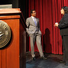 Dr. Roland Fryer, Director of the Harvard University Education Laboratory, talks with Mayor of Salem Kim Driscoll, right, prior to the start of a public forum regarding the Salem Public School turnaround plan in the Mainstage Auditorium at Salem State University on Wednesday evening. David Le/Staff Photo