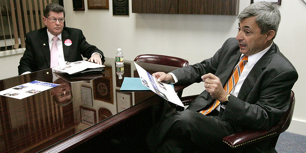 Beverly:<br /> Dan Bennett, left, and Ted Speliotis, two state rep candidates, answer questions at The Salem News.<br /> Photo by Ken Yuszkus/The Salem News, Thursday, October 25, 2012.