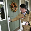 Danvers:<br /> Dan Bennett, is dropping literature in the Hood Road area as he runs for state Rep. of the 13th Essex District.<br /> Photo by Ken Yuszkus/The Salem News, Tuesday, October 23, 2012.