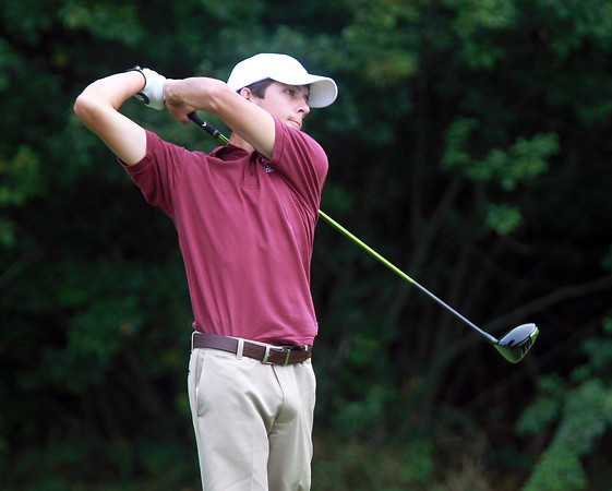 Salem: Gloucester's Curtis Quinn tees off on the 4th hole against Salem on Tuesday afternoon. David Le/Gloucester Daily Times