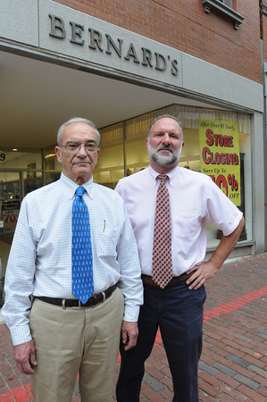 Salem:<br /> Owners Ray Tetrault, left, and Tom Tetrault outside Bernard's Jewelers which is closing.<br /> Photo by Ken Yuszkus, The Salem News, Monday, September 16, 2013.