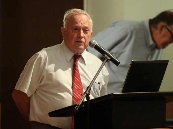 Beverly: Beverly Mayor Bill Scanlon addresses some concerns regarding the proposed Brimbal Avenue Project during a forum at Beverly High School on Thursday evening. David Le/Salem News