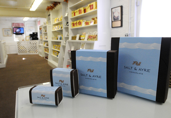 Salem:<br /> The new product, Salt & Ayre Chocolate, in the gift shop at Harbor Sweets.<br /> Photo by Ken Yuszkus, The Salem News, Thursday, September 19, 2013.