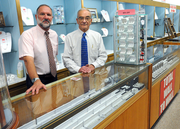Salem:<br /> Owners Tom Tetrault, left, and Ray Tetrault at Bernard's Jewelers which is closing.<br /> Photo by Ken Yuszkus, The Salem News, Monday, September 16, 2013.