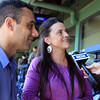 Boston: David and Heather Catanzaro, of Gloucester, talk with NESN reporter Jenny Dell during a trip to Fenway Park with their son Jacoby. David Le/Salem News