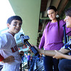 Boston: Gloucester native Jacoby Catanzaro smiles while being interviewed by NESN reporter Jenny Dell, about spending the day at Fenway Park and meeting his favorite player Jacoby Ellsbury while his mother, Heather Catanzaro listens. David Le/Salem News