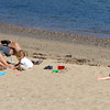 Beverly:<br /> From left, Erin Flynn, Marie and Hank O'Mera, Emma and Mikey Flynn enjoy the last few days of summer in the sunshine at Dane's Beach in Beverly.<br /> Photo by Ken Yuszkus, The Salem News, Thursday, September 19, 2013.