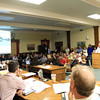 Beverly: Hundreds of Beverly residents packed into the City Coucil Chambers at Beverly City Hall on Monday evening for a public hearing on the Brimbal Avenue Re-zoning Project. Due to the overwhelming level of interest without enough room to accommodate everyone, the public hearing was rescheduled for Thursday evening at Beverly High School. David Le/Salem News