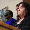 Beverly: Tina Cassidy, City Planner for the City of Beverly, addresses the Beverly City Council and the hundreds of Beverly residents packed into the City Coucil Chambers at Beverly City Hall on Monday evening for a public hearing on the Brimbal Avenue Re-zoning Project. Due to the overwhelming level of interest without enough room to accommodate everyone, the public hearing was rescheduled for Thursday evening at Beverly High School. David Le/Salem News
