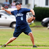 Peabody: Peabody Police shortstop Steve Zampatella throws to first during the 57th annual Peabody Police vs Old Timers Jimmy Fund game at Emerson Park on Monday morning. David Le/Salem News