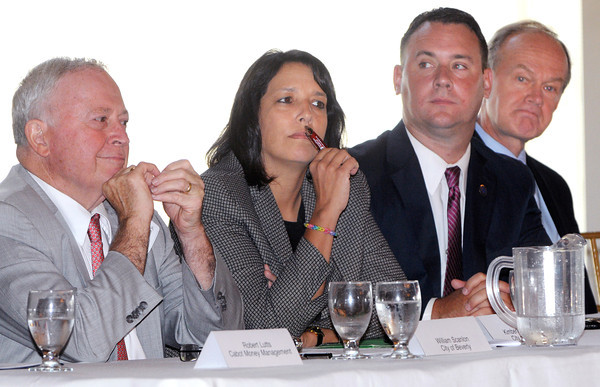 Danvers:<br /> From Left, William Scanlon, mayor of Beverly, Kim Driscoll, mayor of  Salem, Ted Bettencourt, mayor of Peabody, Wayne Marquis, Danvers Town Manager, all spoke along with other mayors at the State of the Region breakfast held at the Danversport Yacht Club Wednesday morning.<br /> Photo by Ken Yuszkus, The Salem News, Wednesday, September 11, 2013.