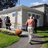Salem:<br /> People arrive at the opening ceremony for the large addition to the On Point building in Salem.<br /> Photo by Ken Yuszkus, The Salem News, Thursday, September 26, 2013.