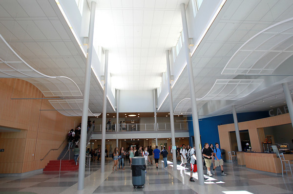 Danvers: Students stream through the new front entrance hall of Danvers High School on their way to lunch on Wednesday afternoon. David Le/Salem News