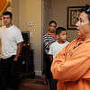 Danvers:<br /> From left, Roberto Pacheco, wife Angela Suriel, his son Roberto Pacheco,  Jackie McKenna, board member and employee of Habitat for Humanity - North Shore, and Roberto's daughter Isaura Pacheco talk about the home which is half of the duplex that Habitat for Humanity - North Shore completed in Danversport at 26 Mill Street.<br /> Photo by Ken Yuszkus, The Salem News, Wednesday, September 18, 2013.