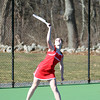 Masco junior Rebecca Costa serves while playing No. 3 singles against Pingree in a non-league contest on Tuesday afternoon. DAVID LE/Staff photo 4/1/14