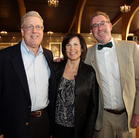 From left: Tim and Jamie Ruh, of Georgetown, and Chet Marcus, of Gloucester, at the 6th annual North Shore Star singing competition hosted by the Beverly Rotary Club and North Shore Music Theatre held at the Danversport Yacht Club on Friday evening. DAVID LE/Staff photo. 4/25/14