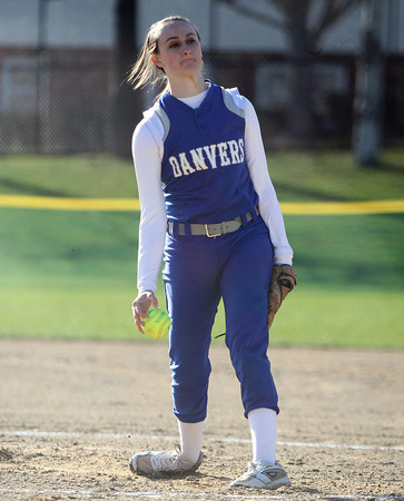 Danvers senior starting pitcher Kendall Meehan (14) fires a strike against Marblehead. Danvers defeated Marblehead 6-1 on Wednesday afternoon behind Marblehead Veterans Middle School. DAVID LE/Staff photo 4/16/14