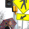 KEN YUSZKUS/Staff photo.  Patty Caton stands near the new pedestrian light at the crosswalk in front of St. Adelaide's Parish in Peabody. Patty is daughter of elderly man who was struck and killed in crosswalk outside of church in 2013.