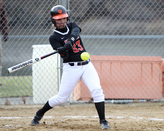 Beverly catcher Cori Coults (33) concentrates while batting against Malden at Innocenti Park on Thursday afternoon. DAVID LE/Staff photo. 4/17/14
