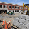 KEN YUSZKUS/Staff photo.  Work continues on the construction of the new parking garage in Beverly. 4/10/14