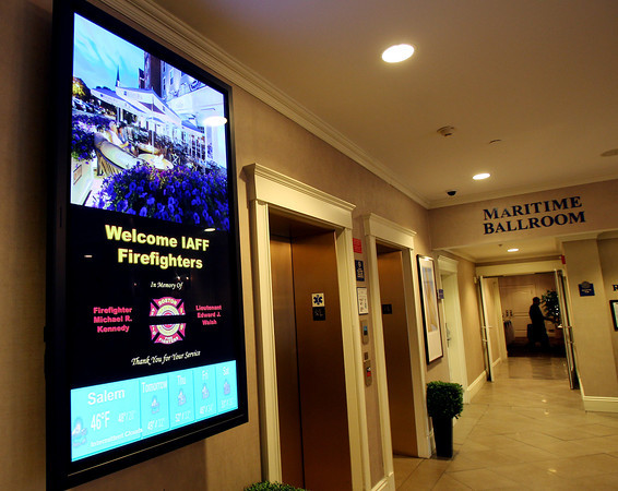 The Salem Waterfront Hotel has offered free rooms for any firefighters coming from around the country to Massachusetts for the funerals of Boston Firefighters Lt. Edward J. Walsh and Firefighter Michael R. Kennedy. A sign inside the hotel lobby welcomes firefighters from near and far. DAVID LE/Staff photo 4/1/14