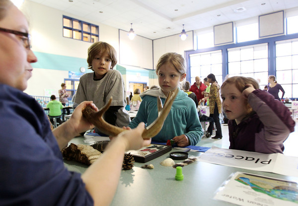 Carlton School second grader Camden Grinarml, 8, left, first grader Lyda Cabot, 7, center, and her sister Evie Cabot, 5, listen closely to Cori Brauer, from Mass Audubon as she talks about one of the objects she brought to display at the Carlton School's Earth Day Fest. The Carlton School hosted its 3rd Annual Earth Day Fest in the cafeteria on Thursday evening. In addition to crafts and games, Ward Two Councilor Heather Famico and Ward Six Councilor Beth Gerard served as two judges for a recycled art competition and Whole Foods Market and Mass Auduban set up table to share some information with the students. DAVID LE/Staff photo. 4/17/14