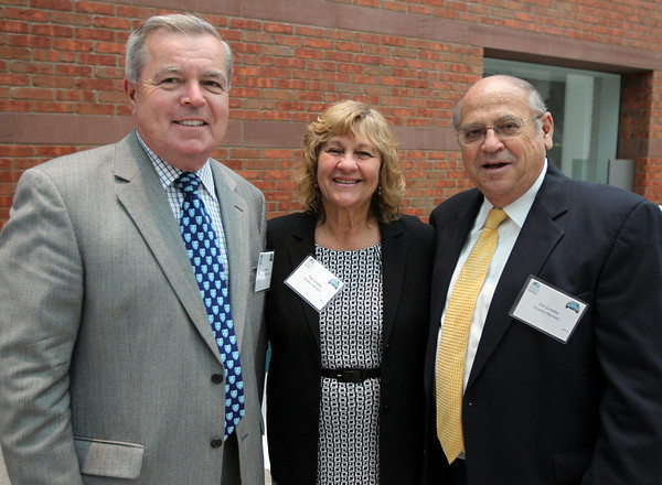 From left: Bob Norton, of the North Shore Medical Center, and Pat and Jim Crosby, of Crosby's Markets, at the Annual Salem Chamber of Commerce Dinner held at the Peabody Essex Museum on Wednesday evening. DAVID LE/Staff photo. 4/23/14