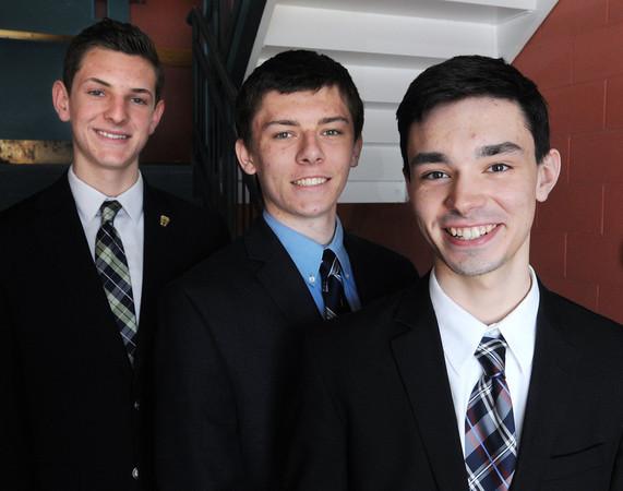 KEN YUSZKUS/Staff photo. From left, Evan Webb, Zachary James Rowell, and Aidan Marchetti, are St. John's Prep art students.