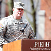 Lt. Col Shawn Cody, of the 101st Engineer Battalion, speaks during a ceremony at Armory Park as part of the 377th Anniversary of the First Muster on Salem Common. DAVID LE/Staff photo 4/5/14