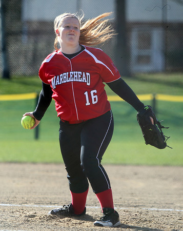 Marblehead starting pitcher Michaela Leblanc (16) fires a pitch against Danvers on Wednesday afternoon. Danvers defeated Marblehead 6-1 on Wednesday afternoon behind Marblehead Veterans Middle School. DAVID LE/Staff photo 4/16/14